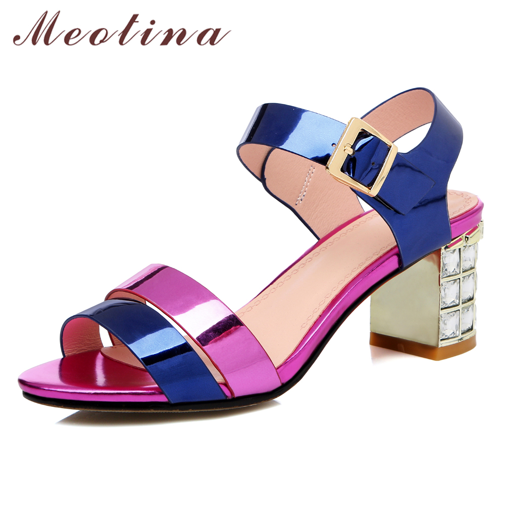 Meotina Women Sandals Summer Shoes Natural Genuine Leather Crystal Block High Heel Shoes Buckle Open Toe Sandals Lady Size 33-43Meotina Women Sandals Summer Shoes Natural Genuine Leather Crystal Block High Heel Shoes Buckle Open Toe Sandals Lady Size 33-43
