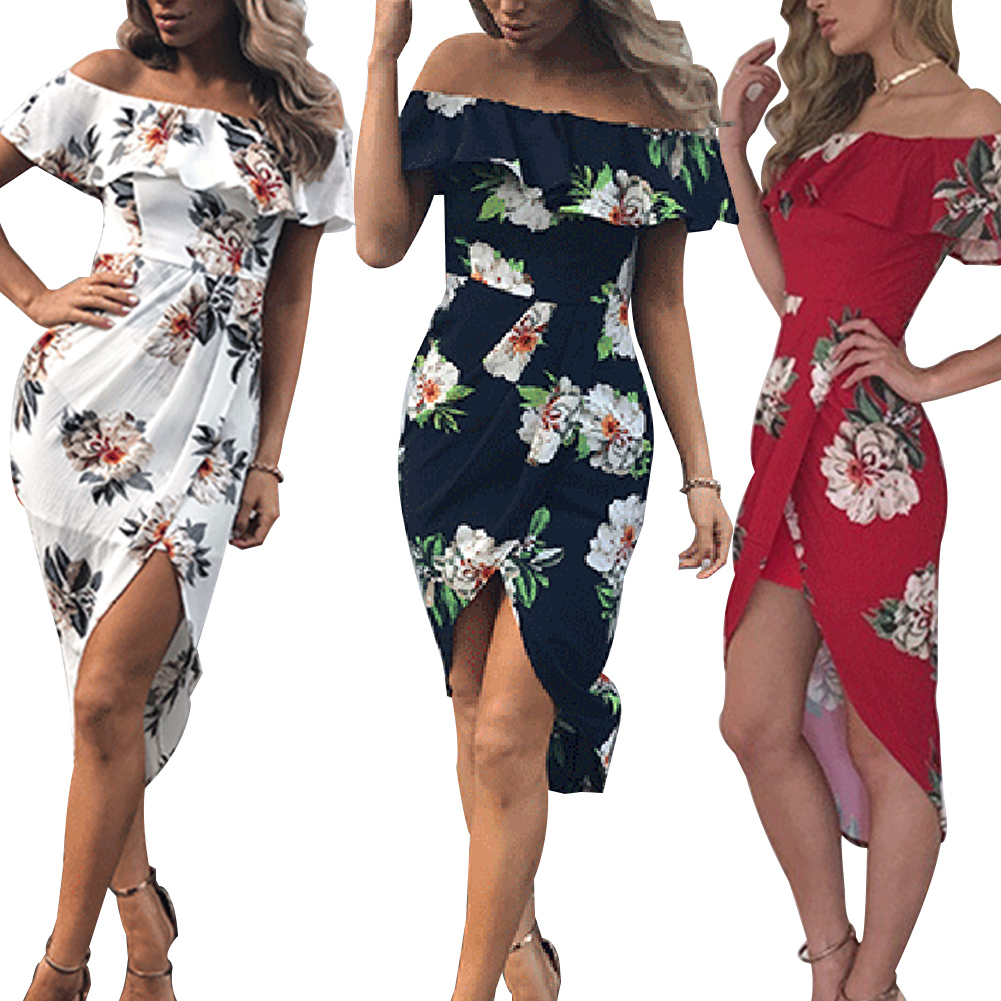 Sexy Women Ruffle Off Shoulder Floral Print Front Split   Cocktail   Party   Dress