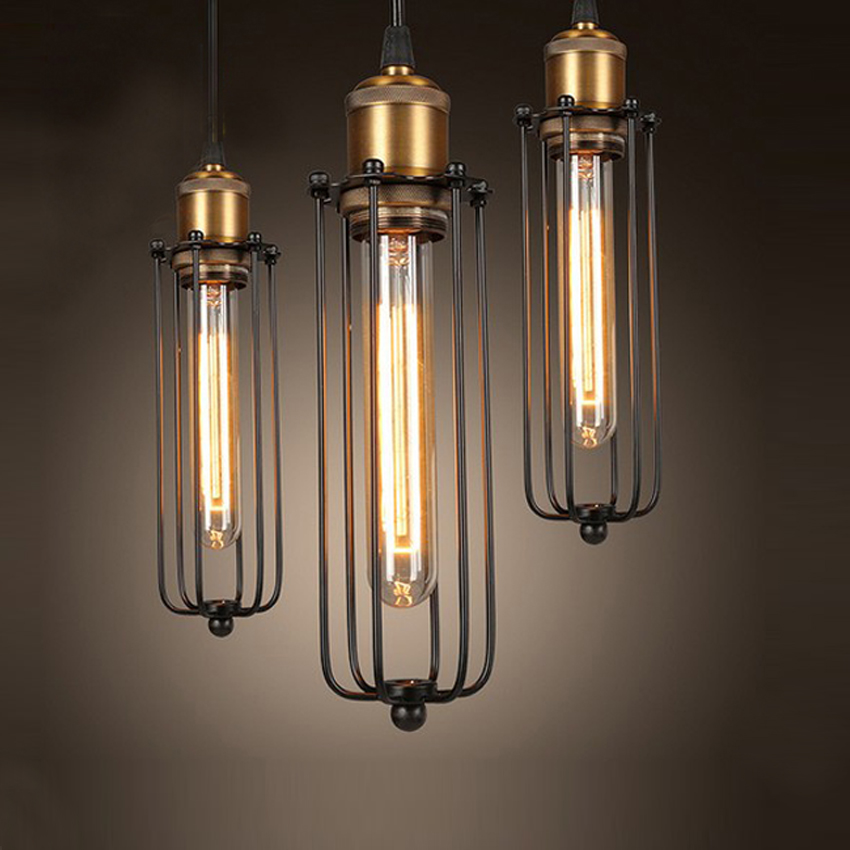3pc vintage industrial antique metal cage pendant light american style iron lights fixture rh. Black Bedroom Furniture Sets. Home Design Ideas