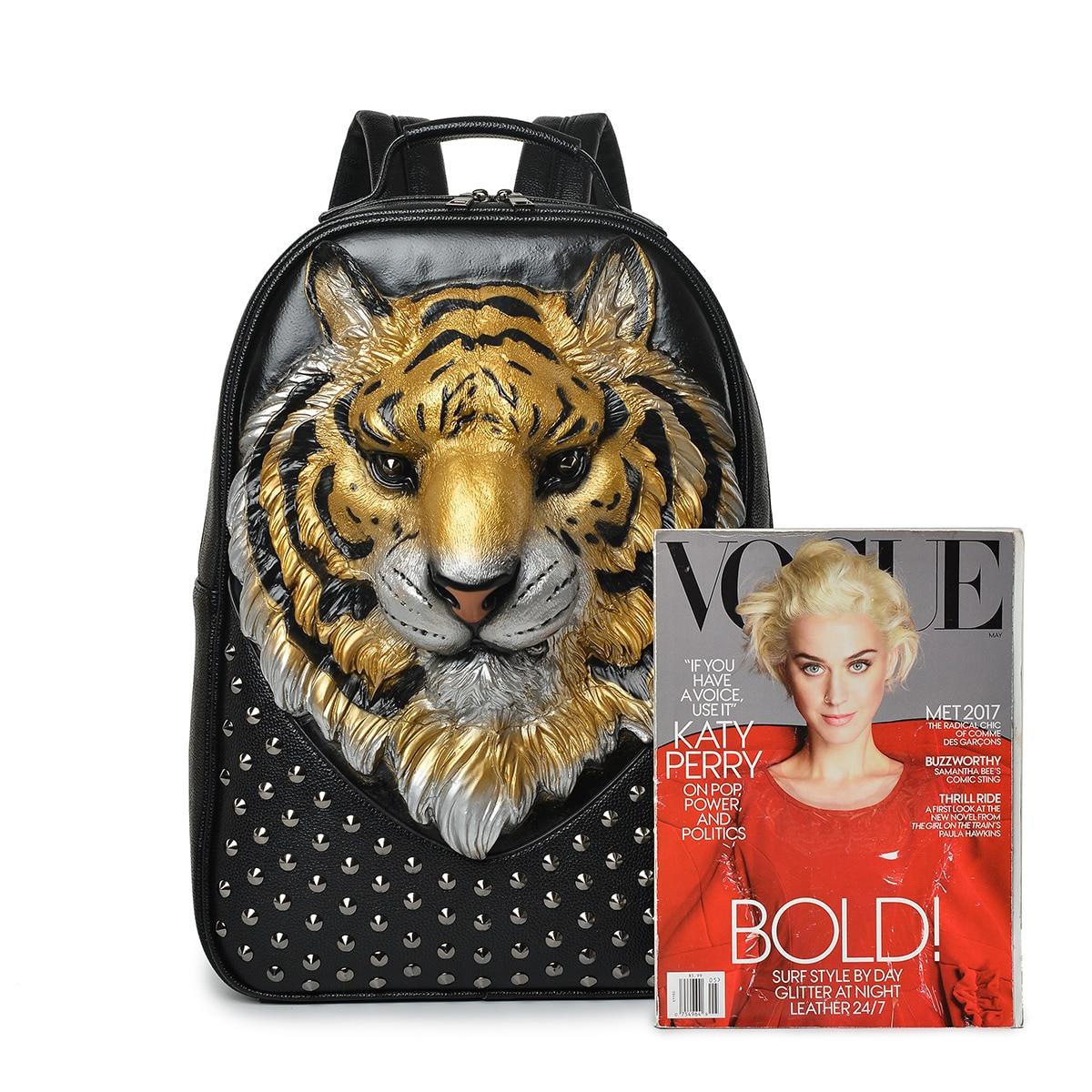 Hommes sac à dos 3D en relief tête de tigre clouté Rivet Gother femmes en cuir souple voyage punk rock sac à dos ordinateur portable école Halloween sac - 6