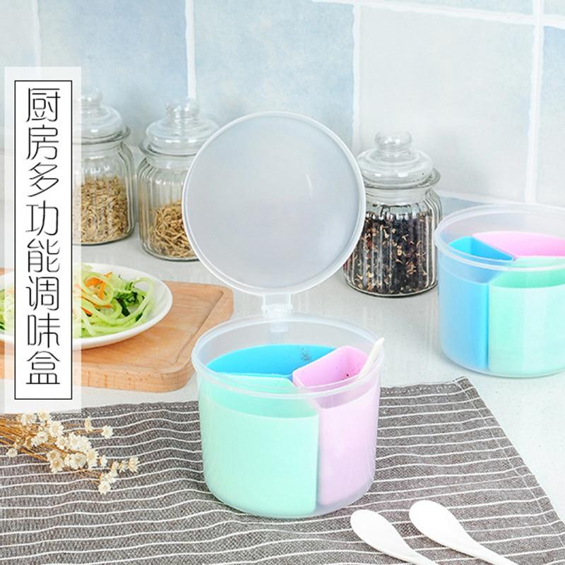 Creative round plastic three multi-purpose seasoning tools cartridge small spoon seasoning box seasoning jar drop shipping