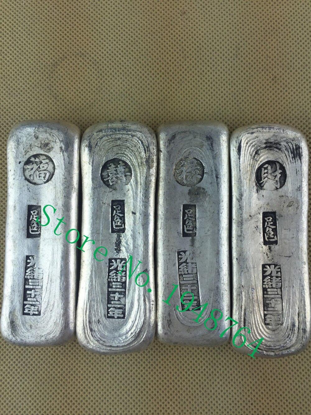 """4ks starožitných čínských stříbrných drahých kovů, kolekce stříbrných ingotů """"FU, XI, CAI, LU"""""""