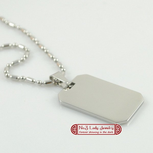 Free shipping, Men's Stainless Steel Pendant Blank, Oblong Dog Tag With Necklace, Logo Printing,Customize,wholesale WJP10