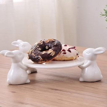 Керамический поднос-органайзер с фигуркой кролика, декоративная керамика, портрет кролика, подарок и крафтовое украшение для пепельницы и ...