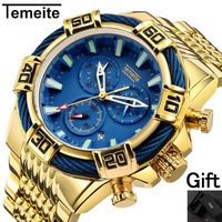 TEMEITE brand mens wristwatch Large dial Multifunction man watch military sports waterproof quartz steel creative male clock