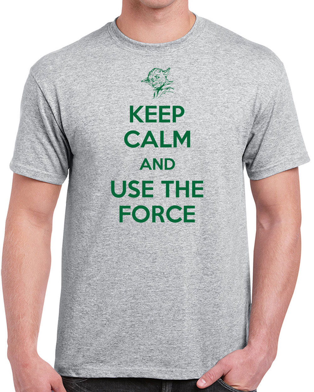 T Shirts With Sayings Crew Neck Graphic Short Sleeve Keep Calm Use The Force Yoda Jedi Star Mens T Shirts