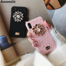 European big brand creativity lace Rhinestone XS MAX XR 6s phone case For iPhone 7plus 8 X 11Pro Max shell tide female models