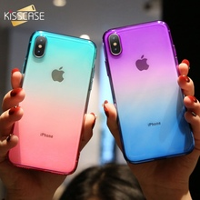 KISSCASE Plain Case For iPhone 5 5s SE 6 6s 7 8 Plus Soft For iPhone X XR XS MAX Glossy Sports Gradient Clear Cover Phone Cases цена и фото
