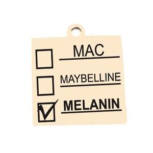Image 2 - Ladyfun Anpassbare Edelstahl Charme MAC Anhänger Melanin Make Up Mac Maybelline Melanin Charms Für DIY Schmuck Machen