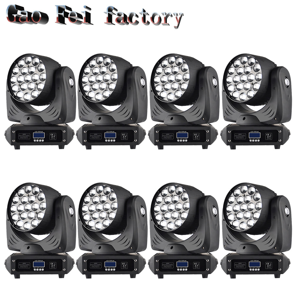 8x lot New China moving head lights ZOOM led wash light rgbw led moving head , 19*12w zoom led wash moving head zoom stage light 10pcs lot cheap stage light 36 15w 5 in 1 led zoom moving head wash light rgbwy color mixing dmx512 lighting control