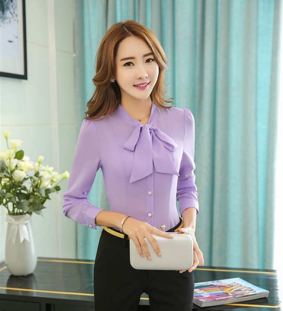 Spring Fall Formal Women Work Shirts Long Sleeve Ladies Office ...