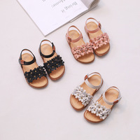 Baby Girls Sandals Genuine Leather Cute Flowers Princess Pink Sandals Solid Color Sweet Style Kids Toddler Summer Sandals 21 30