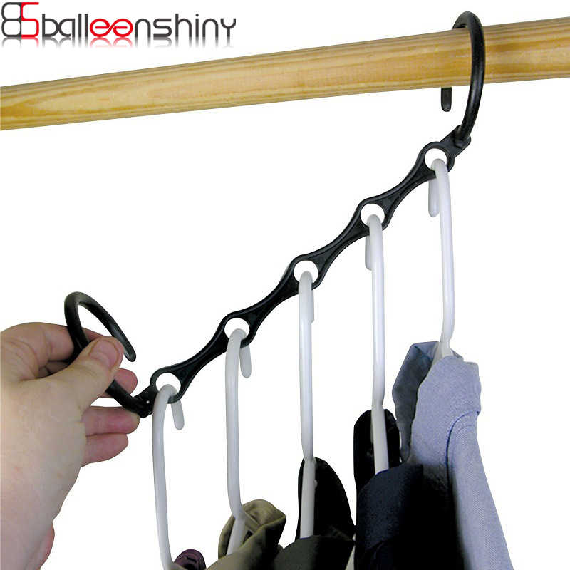 BalleenShiny WindProof 5Hole Magic Coat Hanger Multifunction Holder Clothes Organizer Folding Rotating 5 in 1 Coat Storage Rack