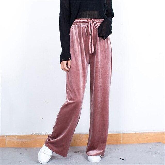 51a1cb7b42 Spring Autumn Velvet Pants Women Elastic High Waist Velour Trousers Female  Loose Wide Leg Pants Casual Sweatpants Plus Size A748