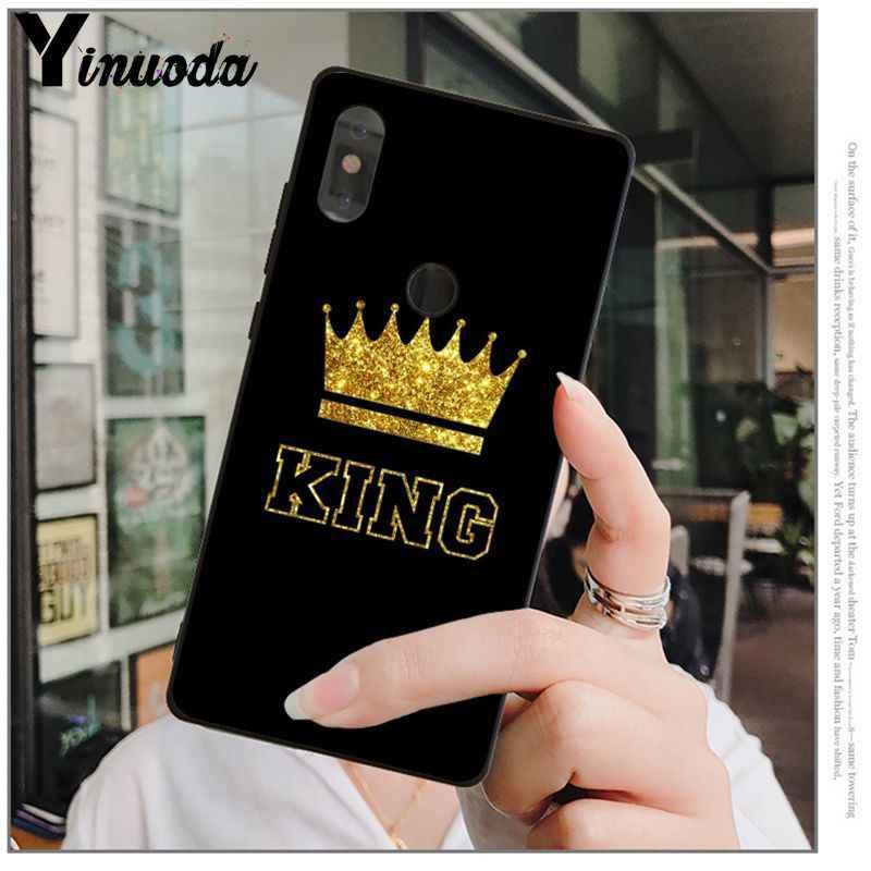 Yinuoda מלך מלכת רך סיליקון שחור טלפון מקרה עבור אדום mi 5 בתוספת הערה 5 Xuiao mi mi 8 8SE 6 mi X 2 2 S נייד מקרי