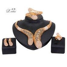 Chapado En oro de Las Mujeres Dubai Africano granos de la Vendimia Traje del Partido de la Joyería Collar pulsera Conjunto Claro de La Manera Cristalina Sistemas de La Joyería