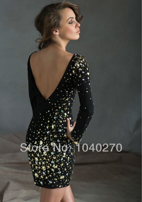e71b57ddfe Classy Hot   Sexy Sheath Long Sleeve Scoop Beaded Crystal Backless Mini  Winter Cocktail and Party Dresses C9249-in Cocktail Dresses from Weddings    Events ...