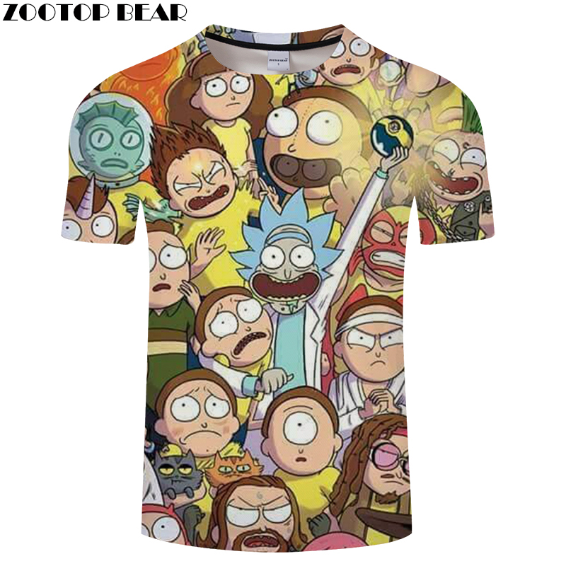 Cartoon Printed tshirt Mens t shirt 3D Rick and Morty t-shirt Streatwear Tee Anime Top Unisex Short Sleeve Drop ship ZOOTOPBEAR