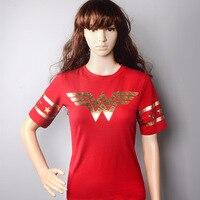 חולצות אישה פלא סרטים נייר זהב אדום פסים שרוולי O-צוואר טי חולצות כותנה חדשה הגעה
