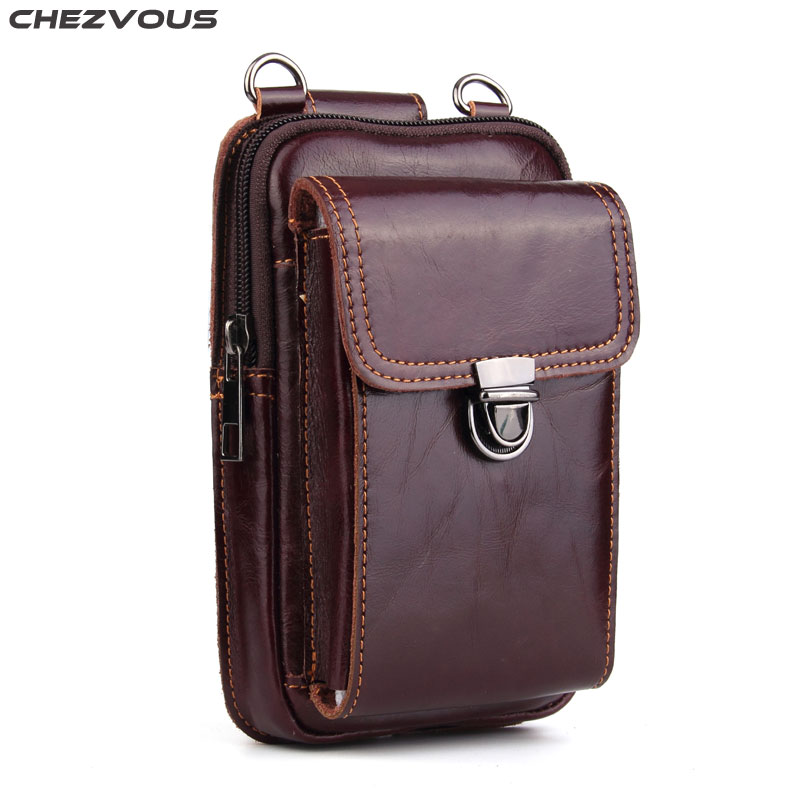 CHEZVOUS Mobile Phone Bags Belt Bag Men for iPhone 7 8 6s plus X Leather Waist Packs Universal for Samsung Galaxy S8 S9 Plus S7