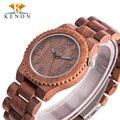 2017 top marca de lujo marrón kenon hombres relojes de pulsera de regalo de madera de madera del reloj de cuarzo para los hombres con la caja horloges mannen
