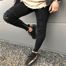 HOT 2019 Fashion Casual Fold knee high street men jeans ripped hole feet zipper leg pants hip hop streetwear men's trousers