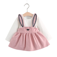 2017 Bunny One Piece Baby Dress Long Sleeves A Line Cute Infant Girl Dresses Children Clothing