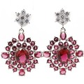 Fashion Jewelry Created Pink Raspberry Rhodolite Garnet, White CZ SheCrown Woman's Wedding 925 Silver Earrings 38x24mm