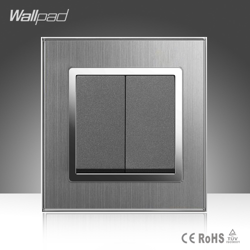 2 Gang 1 Way Wallpad Hotel EU UK Standard Grey Silver Satin Metal 2 Gang 1 Way Switch Panel Push Button Wall Light Switch ewelink eu uk standard 1 gang 1 way touch switch rf433 wall switch wireless remote control light switch for smart home backlight