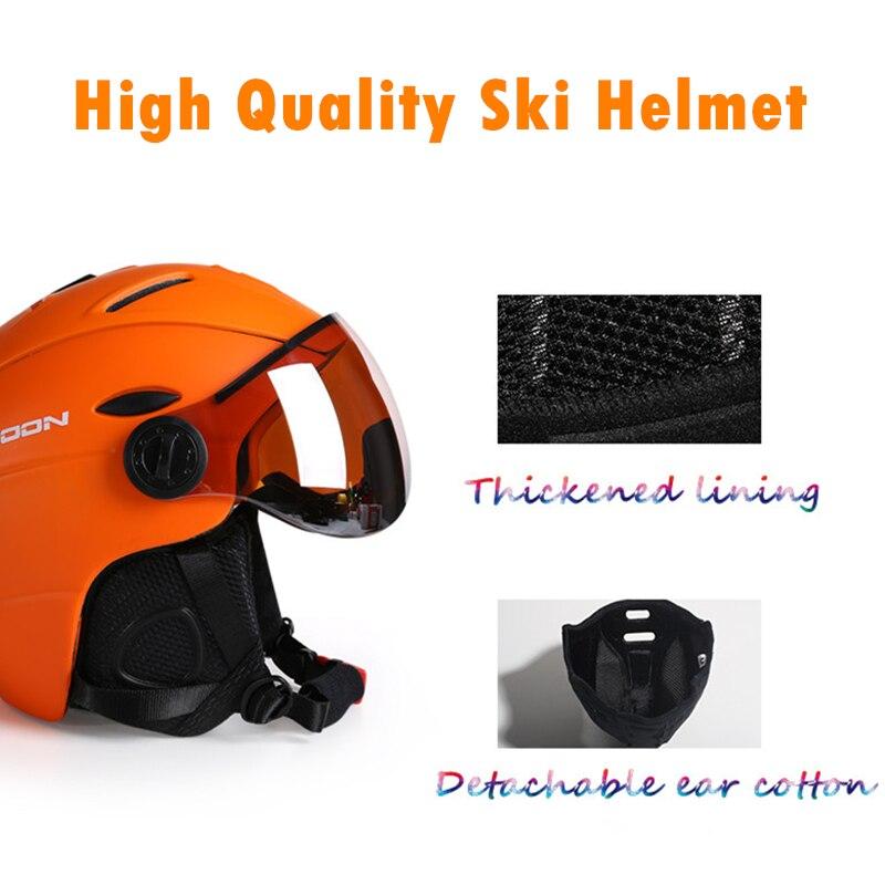 MOON CE сертификат скейтборд шлем интегрально формованные очки лыжный шлем для мужчин и женщин Спорт на открытом воздухе сноуборд шлем M/L/XL - 4