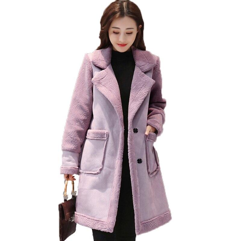 2018 Women's Winter Coat Lapel Faux Fur Fleece Lined Parka Warm Winter Coat Ladies   Suede     Leather   Jacket Long Plus Size Clothing