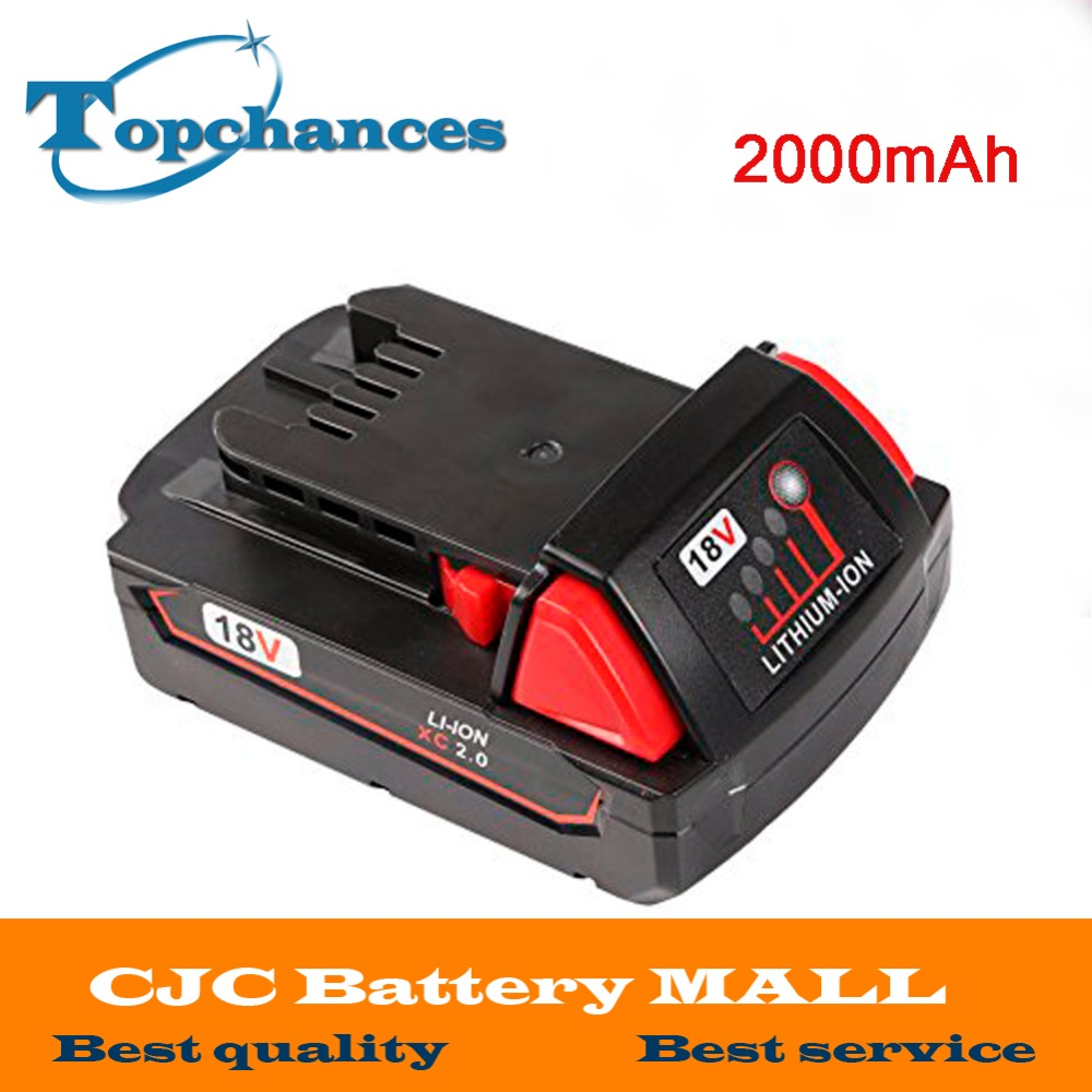 High Quality 18V 2000mAh Li-Ion Replacement Rechargeable Power Tool Battery for Milwaukee M18 XC 48-11-1820 M18B2 M18B4 M18BX