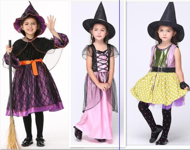 Trucco Halloween Per Bambini Da Strega.Us 22 49 10 Di Sconto I Bambini Costume Da Strega Vestito Operato Costumi Di Halloween Per Bambini Ragazze Viola Witch Costume Trucco Mago Di Strega
