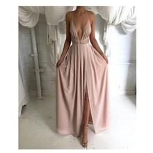 2016 mode Einfache A-Line Halfter Abendkleid Sexy Split Side Langes Abendkleid Rosa Farbe Satin Vestidos De Noche