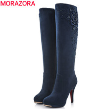MORAZORA 2016 new fashion high heels suede leather knee high boots women autumn winter snow motorcycle boots for women shoes