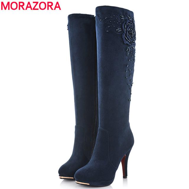 MORAZORA 2016 nova moda dos saltos altos de camurça joelho botas altas de couro mulheres neve do inverno da motocicleta botas para as mulheres sapatos de outono