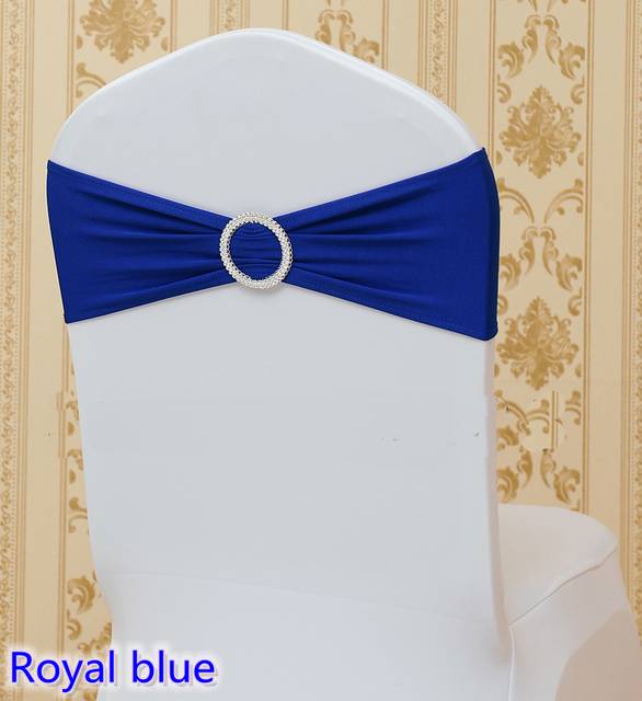 where to buy chair sashes medline transport royal blue colour on sale sash with round buckles for covers spandex band lycra bow tie wedding decoration