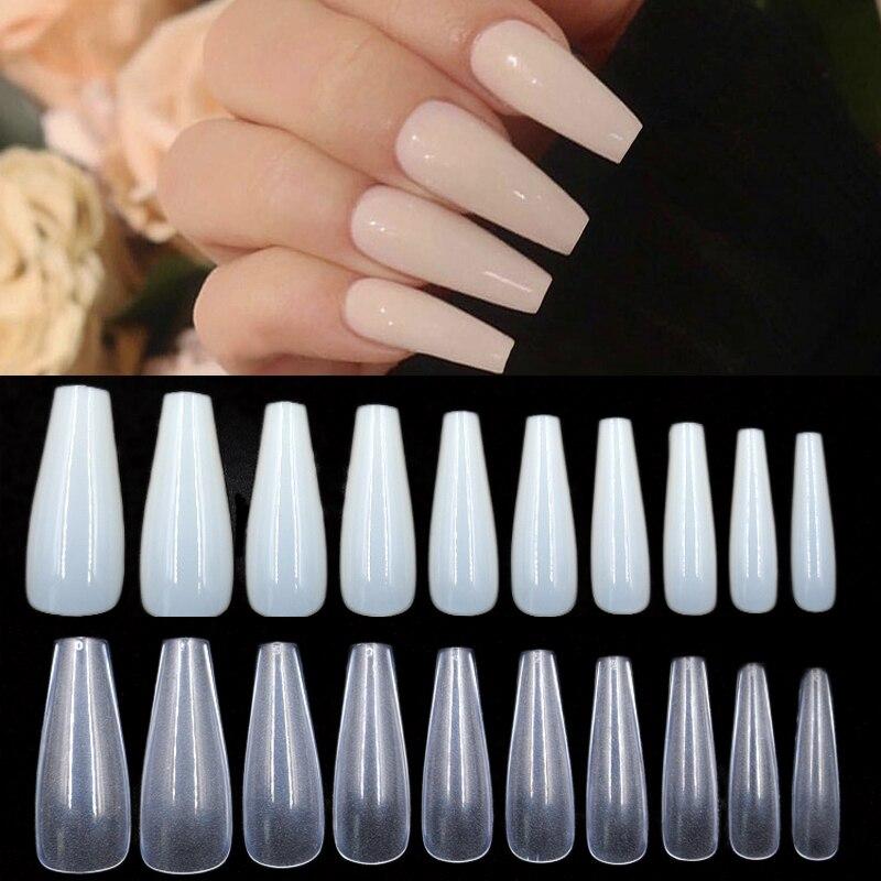 500 pièces/sac ABS artificielle couverture complète ongles conseils naturel/couleur claire Nude acrylique longue ballerine Type carré faux Art ongles conseils