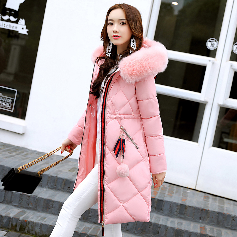 Anti-season Cotton Women In The Long Section Of Thickening 2017 Winter New Cotton Suits Super-large Collar Cotton Clothing sky blue cloud removable hat in the long section of cotton clothing 2017 winter new woman