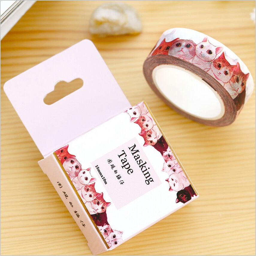 15mm wide animal crowded cat decoration diary washi tape for Decoration tape