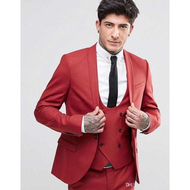 Nouvelle mode beau marié robe col châle un bouton marié hommes costume meilleurs hommes costumes vêtements robe de mariée (veste + pantalon + gilet)