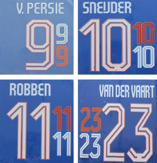 2014 home orange stamping namesets V.PERSIE SNEIJDER ROBBEN soccer players printing stickers printed football numbering letters