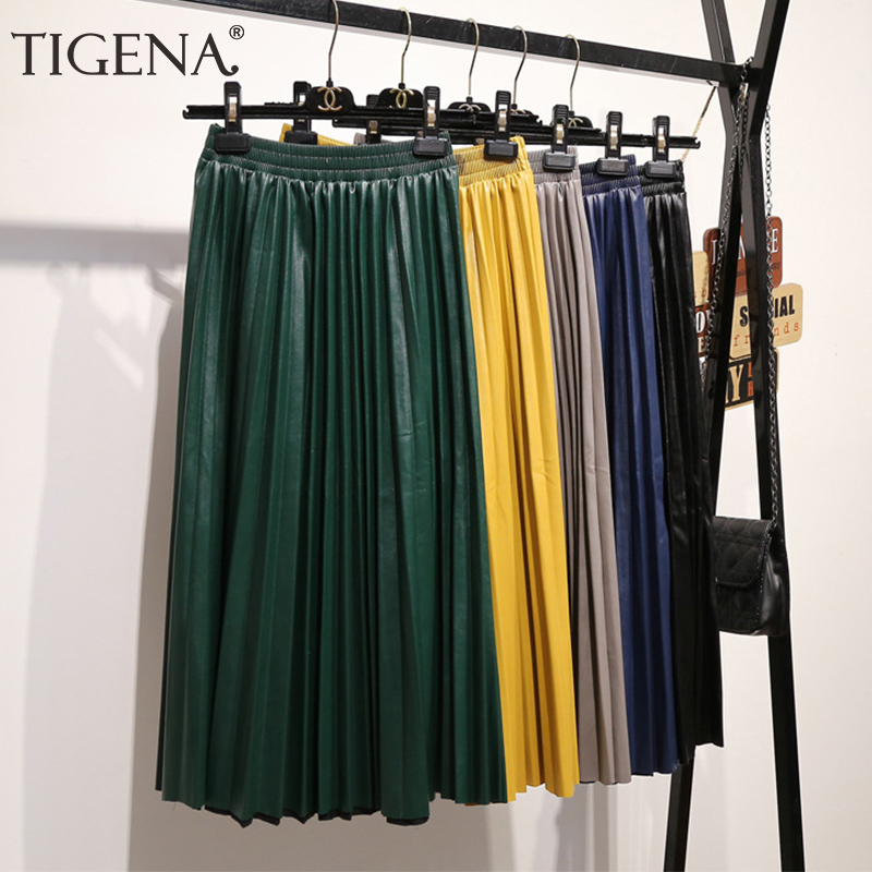 TIGENA Faux Leather Skirts Women Fashion 2019 Autumn Winter Elegant Long Pleated Skirts Women High Waist Pu Skirts Female