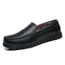 men genuine leather office warm loafers plush inner gents cow leather dress shoes fur inside plus big size business winter shoes