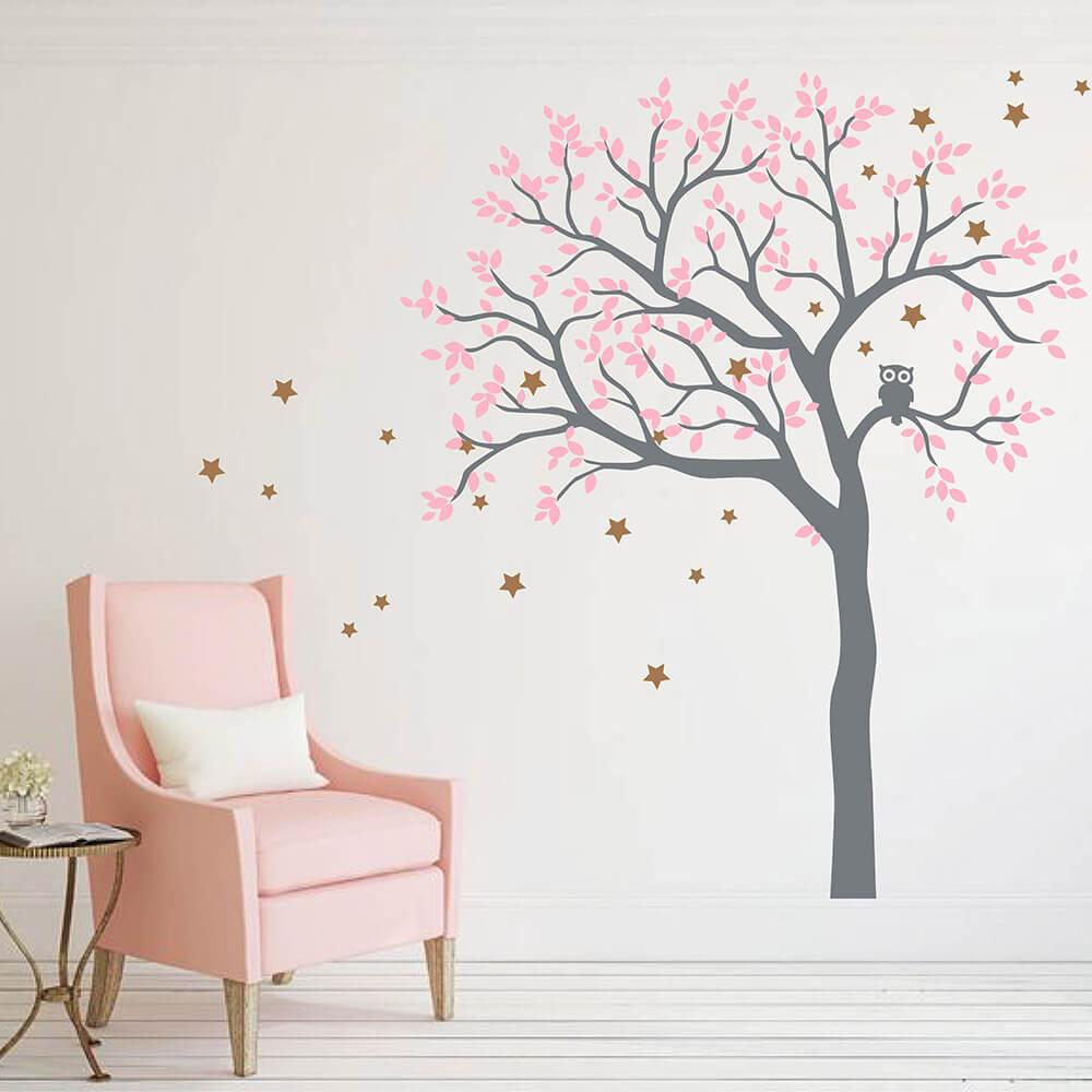 Hibou Hoot arbre étoile Stickers muraux pépinière hibou arbre mur décalcomanie pépinière arbre autocollant mur Art arbre mur décor 859 T