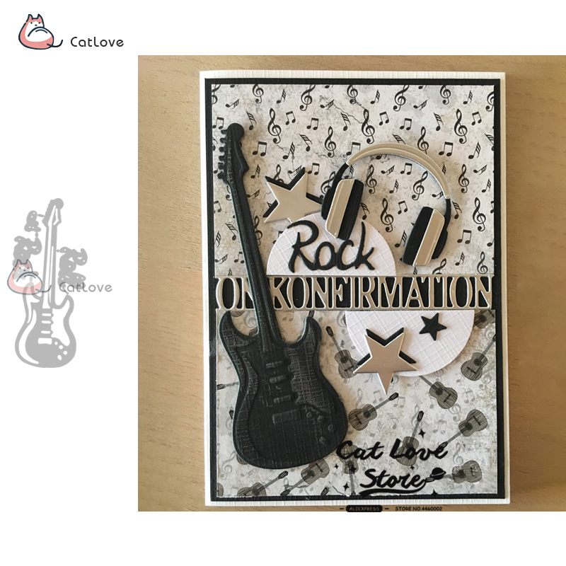 Guitar Metal Cutting Dies Stencils for Scrapbooking DIY Cards Making Decor.