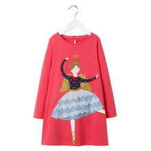Applique a lovely angel baby girls cartoon dresses kids new designed spring autumn dress top quality cotton clothing for girls jumping meters top brand dresses girls baby new clothing cotton striped applique animals princess autumn spring kids dress girl