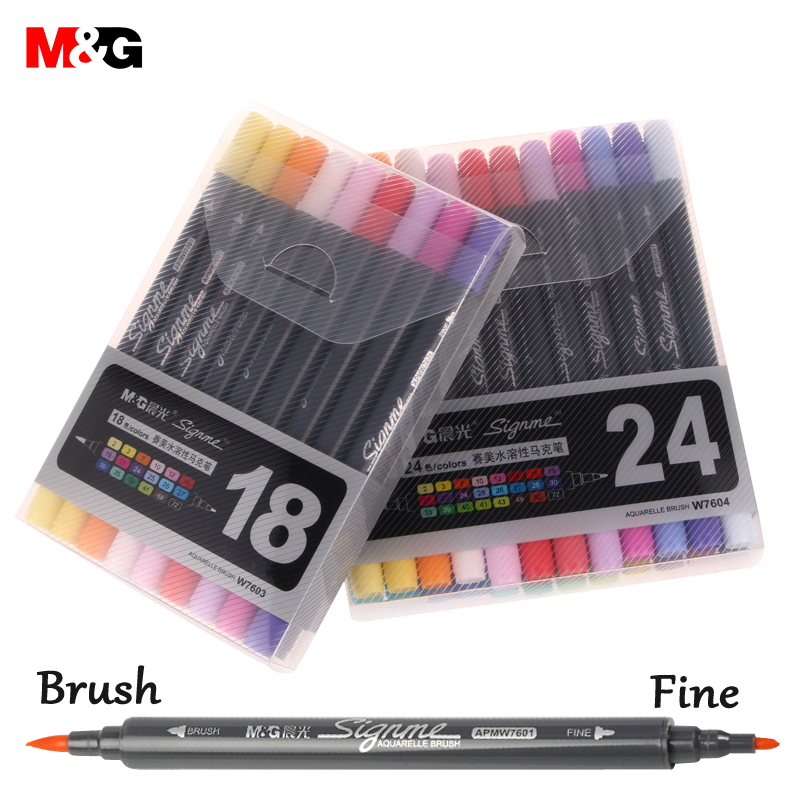 New 12/18/24 Colors Art Marker Water Soluble Liner Brush Pen Colored Pens Markers for Professional Drawing for Dessin Manga 36 colors set 0 4mm fine liner colored marker pens watercolor based art markers for manga anime sketch drawing pen art supplies