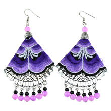 EE0011 2015 August 4 colors Handemade Embroidered Flower Vintage Silver Ethnic Dangle Drop Earrings For Woman Jewelry