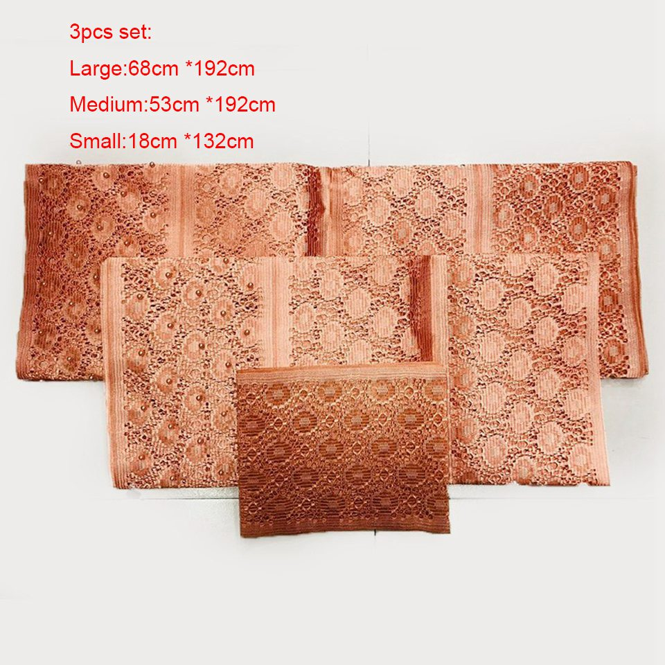 Sanyan Black Tan Aso Oke 3pcs Set O 39 jawu Aso Oke Fabric with Stones For Crafts Gele Headgear and Ipele Shoulder LXLAS 5 6 in Fabric from Home amp Garden